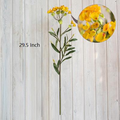 "Artificial Flower Silk Yellow Spurges Stem 29"" Tall RusticReach"