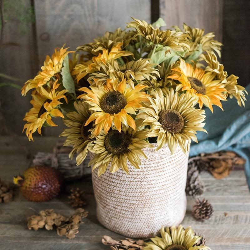 "Artificial Flower Van Gogh Sunflower Bunch 21"" Tall RusticReach"