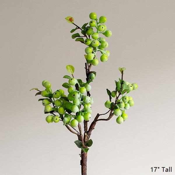 "Artificial Fruit Artificial Berry Stem in Green 17"" Tall RusticReach"