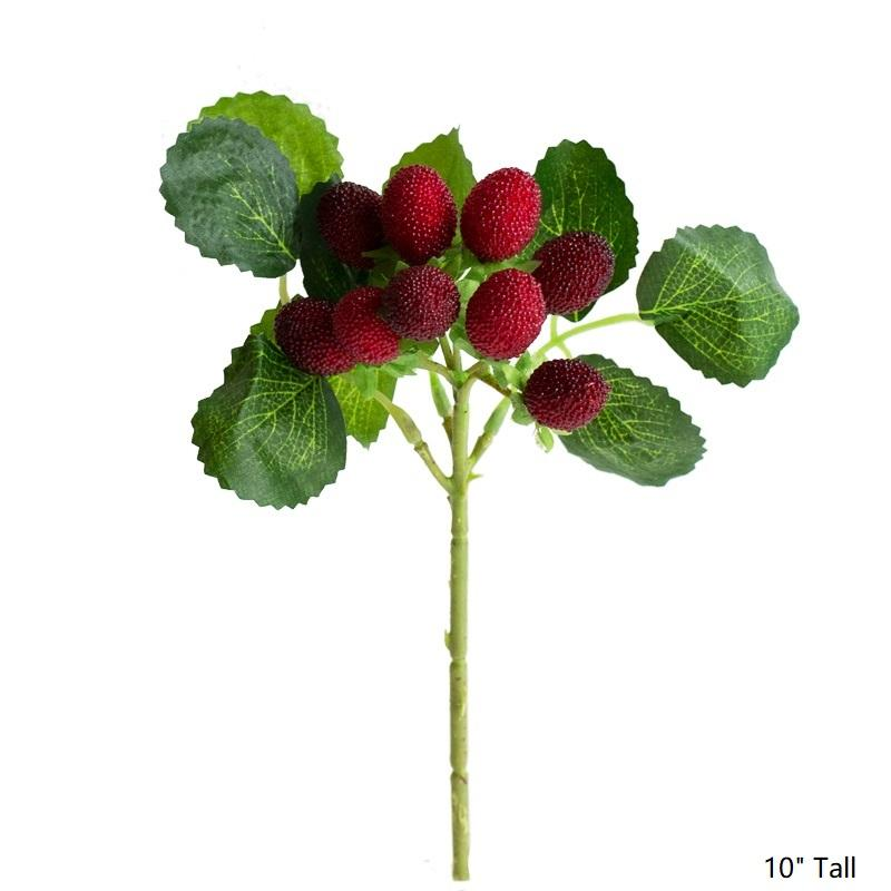 "Artificial Fruit Faux Raspberry Fruit Stem Set 10"" Tall RusticReach"
