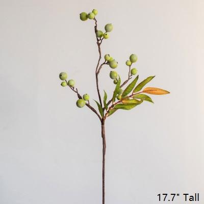 "Artificial Fruit Green Berry Leaf Stem 18"" Tall RusticReach"
