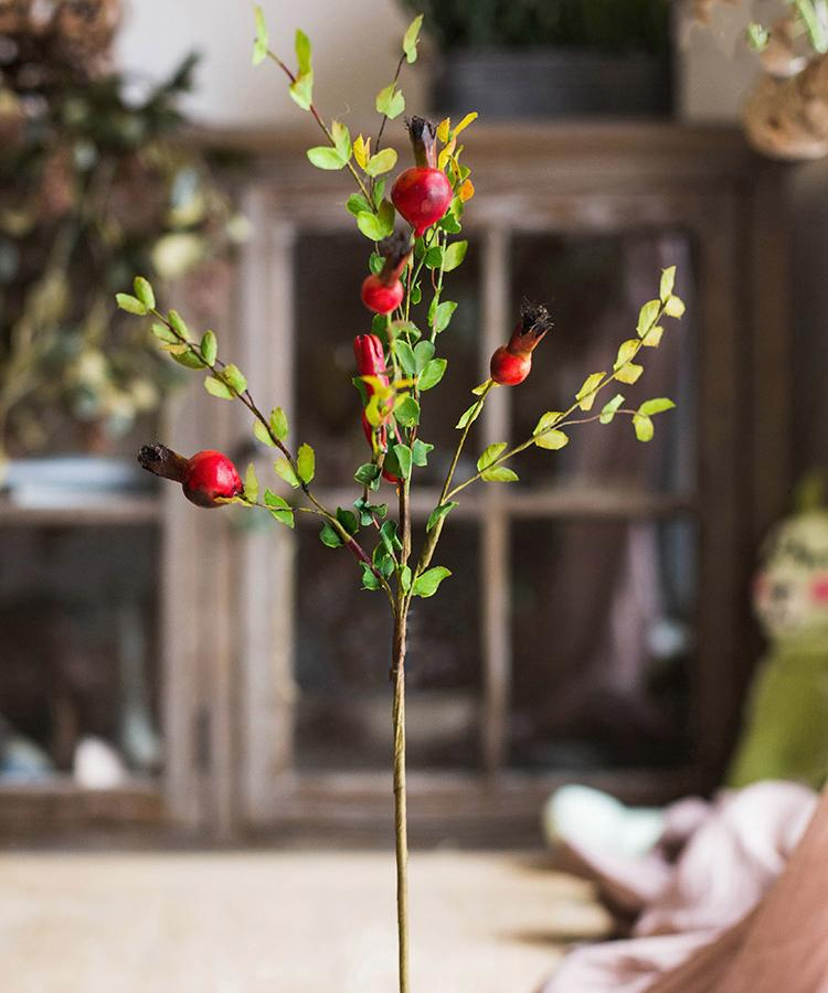 "Artificial Fruit Small Pomegranate Fruit Stem 23"" Tall RusticReach"