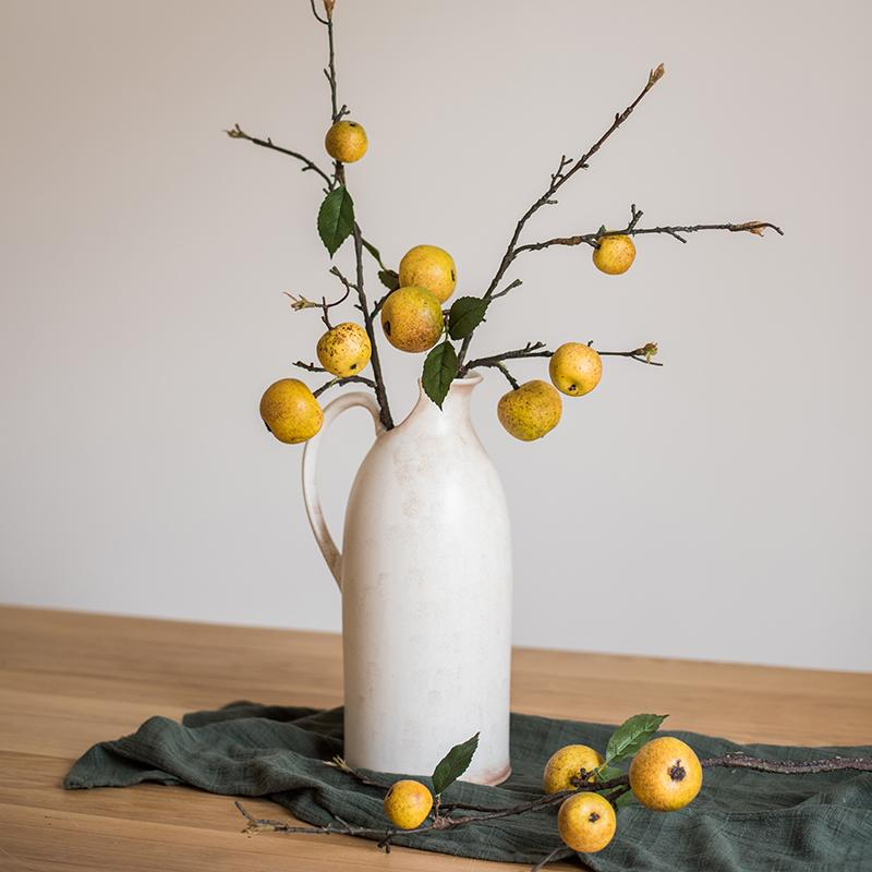 "Artificial Fruit Yellow Apple Pear Stem 27"" Tall RusticReach"