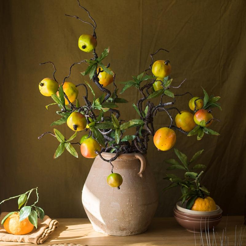 "Artificial Fruit Yellow Pomegranate Winding Stem 32"" Tall RusticReach"