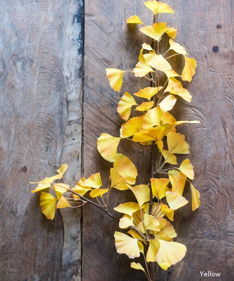 "Artificial Ginkgo Leaf Stem in Yellow 37"" Tall RusticReach"