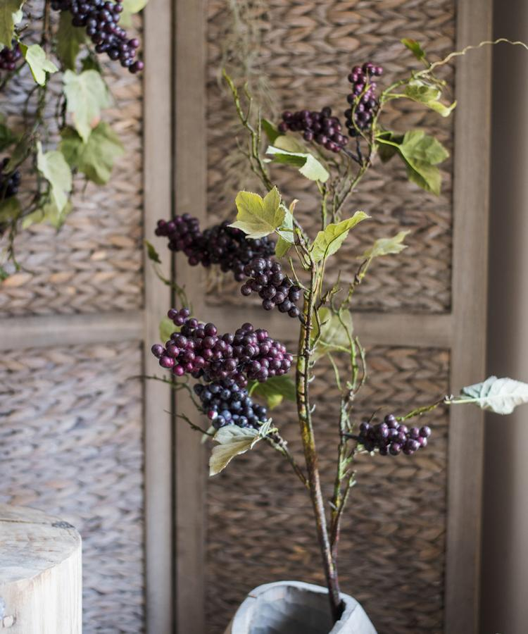 "Artificial Purple Grape Fruit Stems 45"" Tall RusticReach"