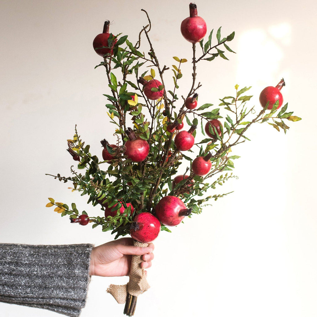 "Artificial Red Pomegranate Greenery Leaf Bouquet 22"" Tall RusticReach"