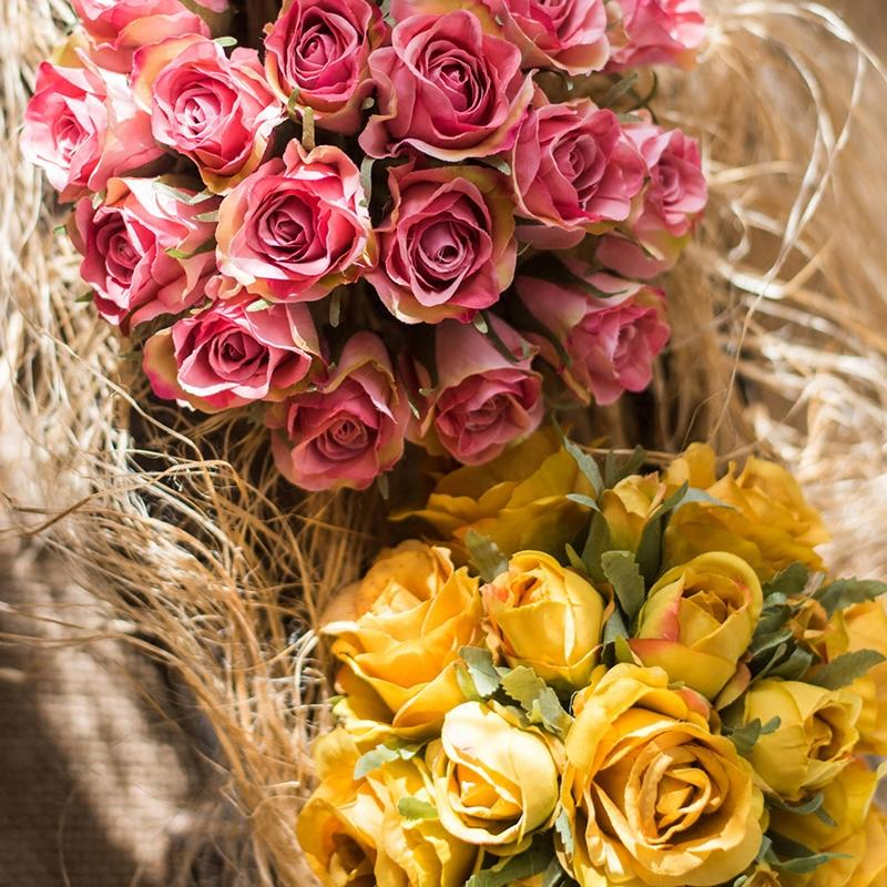 Artificial Rose Bouquet Small Pink Yellow Rose RusticReach