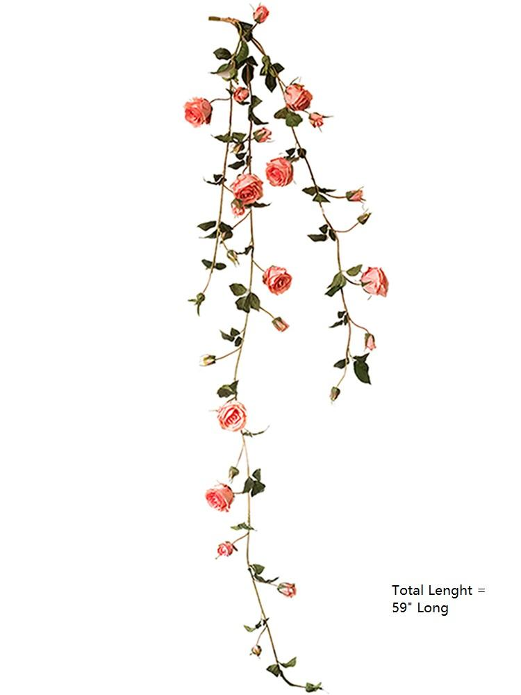 "Artificial Rose Branch Vine in Pink 59"" Long RusticReach"