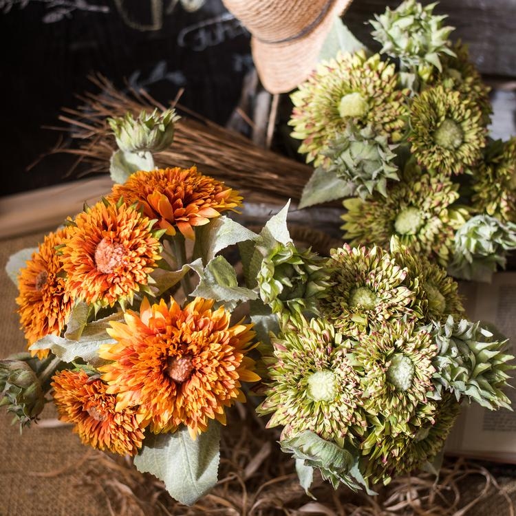 "Artificial Sunflower Bouquet in Green or Orange 18"" Tall RusticReach"