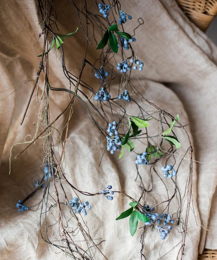"Artificial Wild Blueberry Hanging Vine 43"" Long RusticReach"
