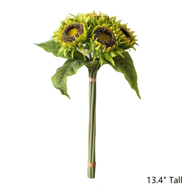 "Artificial Yellow Sunflower Bouquet 13"" Tall RusticReach"