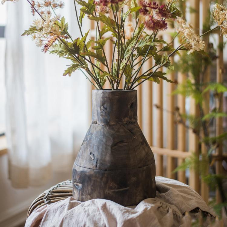 Bare Wood Hand Crafted Wooden Vase with Metal Patchwork RusticReach