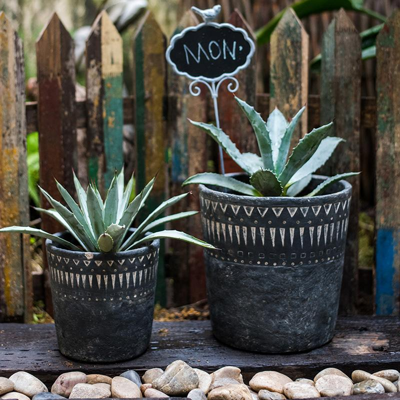 Black Pottery Cement Planter RusticReach