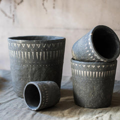 Black Pottery Cement Planter