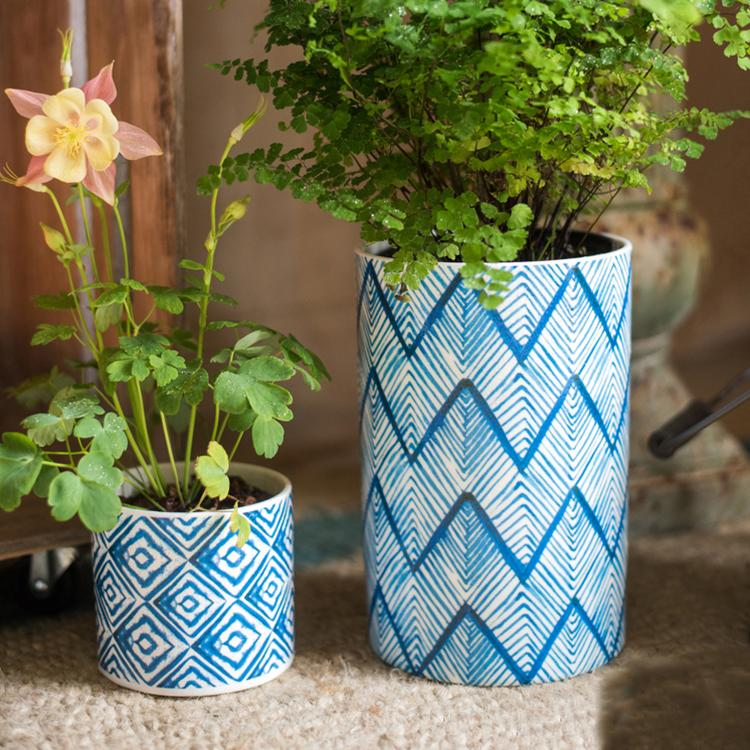 Blue Print Ceramic Vase Planter in Various Patterns RusticReach
