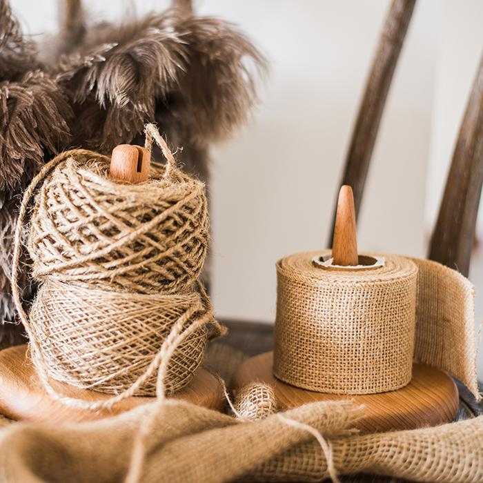 Burlap Roll and Twine String Set of 3 RusticReach