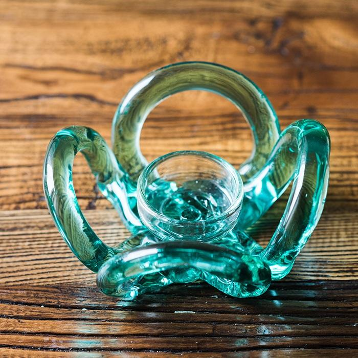 Candle Holder Hand Blown Glass Qingtan Flower RusticReach
