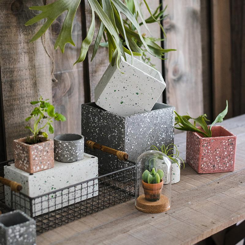 Cement Planter in Various Shape Colors and Sizes RusticReach