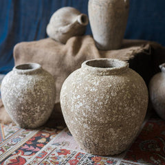 Cement Pot Pompeii Style Handmade Art Jar Pot