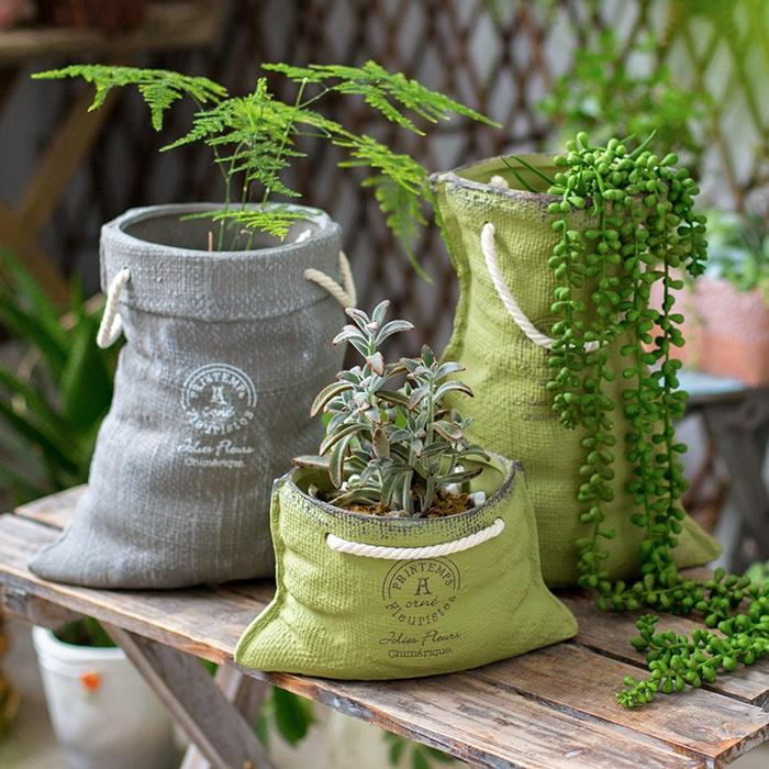 Ceramic Planter Linen Bag Design RusticReach