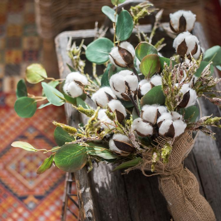"Cotton Flower Bouquet with Greenery Leaf 21"" Tall RusticReach"