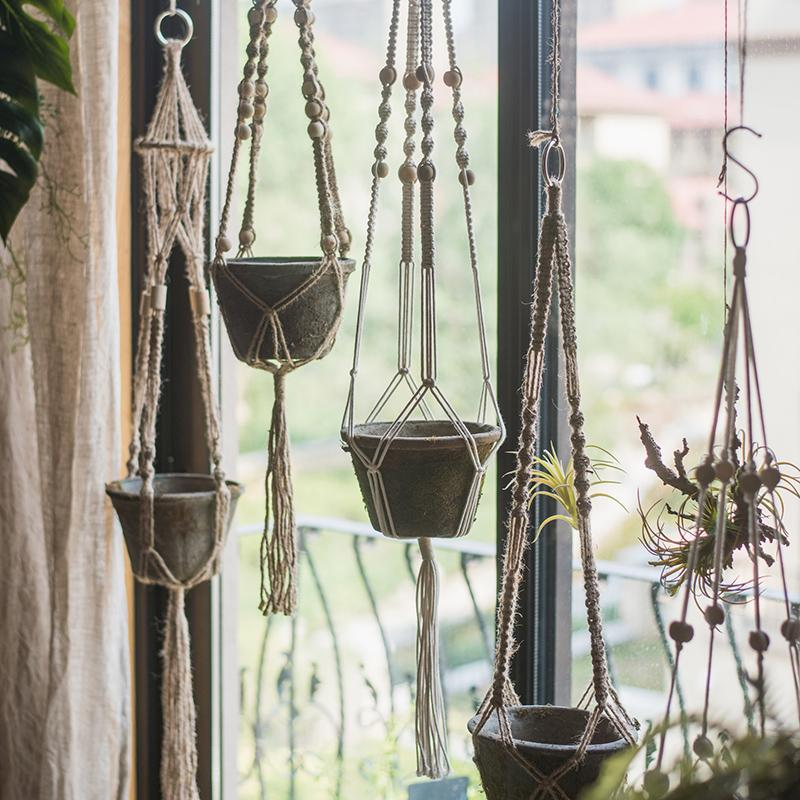 Cotton Hemp Rope Planter Hanger RusticReach