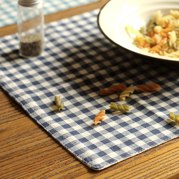 Cotton Table Placemat Check Pattern Set of 4 RusticReach