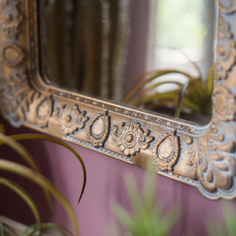 Decorative Mirror French Style Carving Frame Wall Mirror Rectangular RusticReach