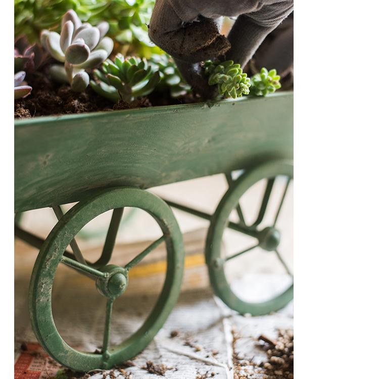 Decorative Planter Cart Green Metal Cart Planter RusticReach