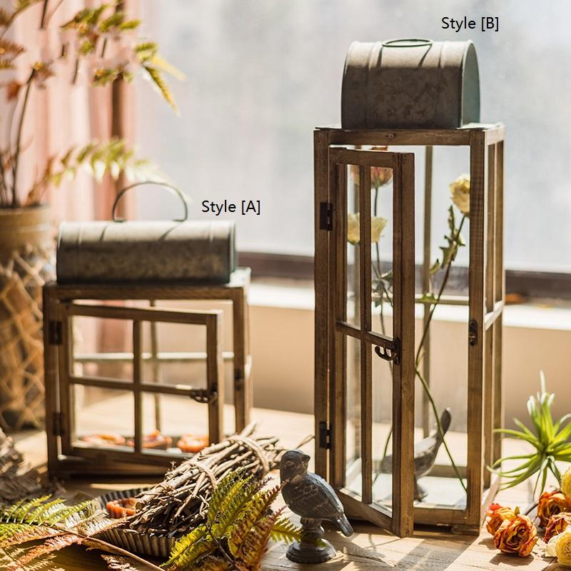Decorative Table Lantern Wooden Glass Lantern RusticReach