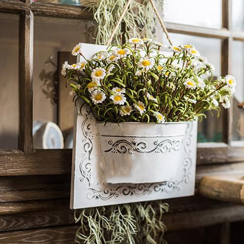 Eco PE Daisy Flowers in Iron Hanging Planter Set RusticReach