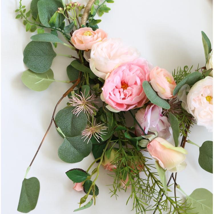 "Floral Hoop Artificial Mixed Pink Floral with Greenery 9"" D RusticReach"