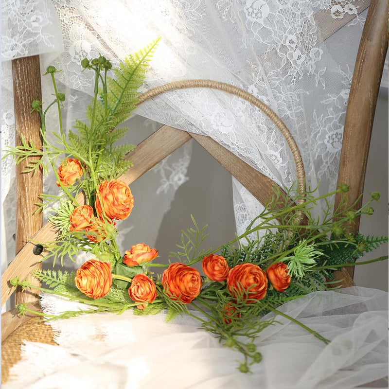 "Floral Hoop Artificial Orange Buttercup with Greenery 9"" D RusticReach"
