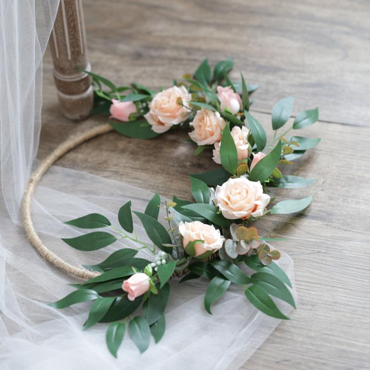 "Floral Hoop Artificial Pink Rose with Green Leaves 9"" D RusticReach"