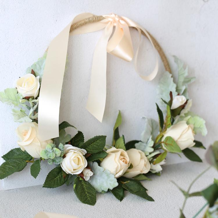 "Floral Hoop Artificial White Rose with Green Leaves 9"" D RusticReach"