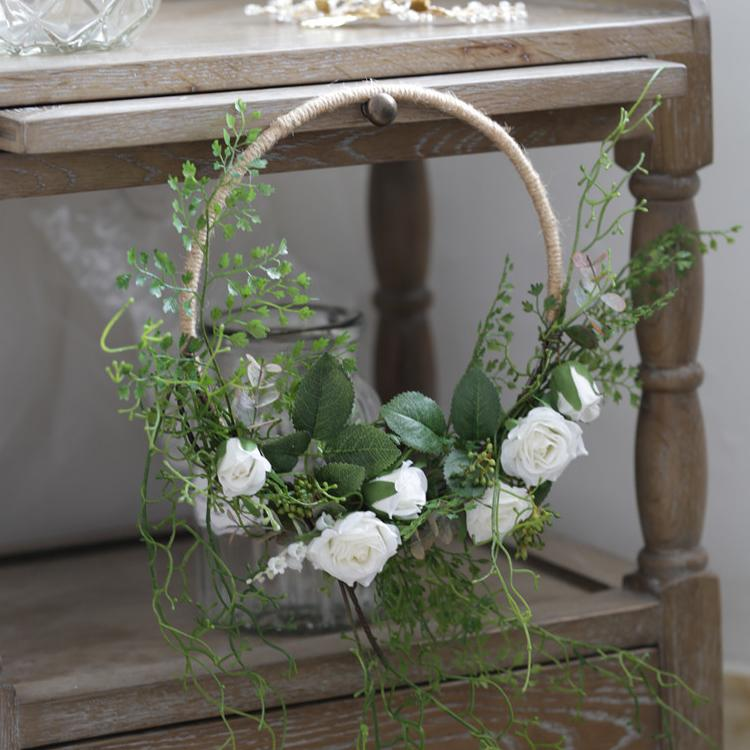 "Floral Hoop Artificial White Rose with Greenery Ferns 9"" D RusticReach"