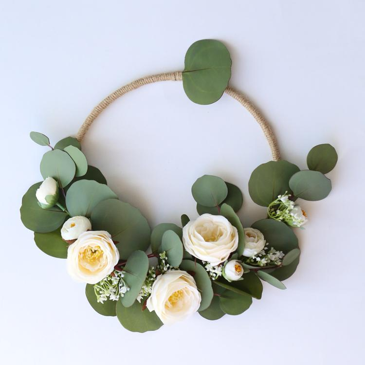 "Floral Hoop Silk Rose with Round Eucalyptus Leaf 9"" D RusticReach"