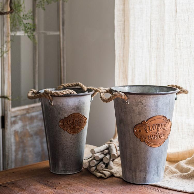 Flower Pot Antique 'Flowers and Garden' Metal Pot with Rope Handles (Set of 3) RusticReach