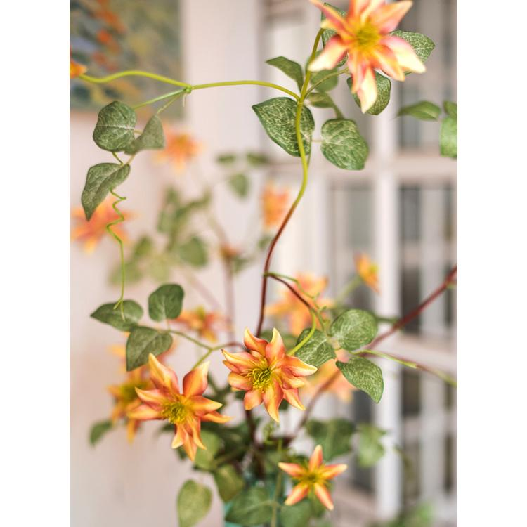 "German Clematis Flower Stem in Orange 40"" Tall RusticReach"