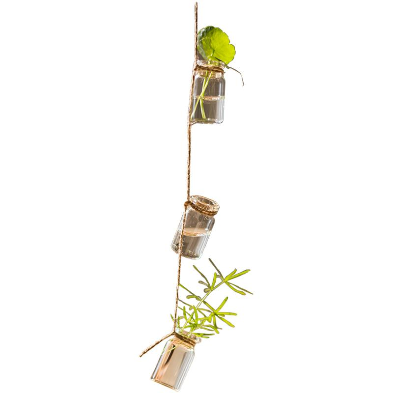 "Glass Planter Rope Hanging Small Planter 55"" Long (Set of 3) RusticReach"