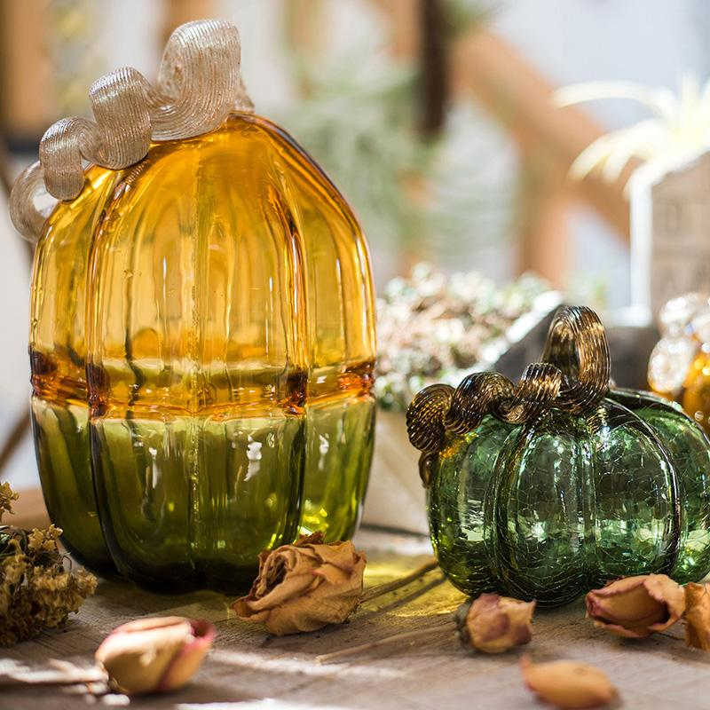 Glass Pumpkin Accents RusticReach