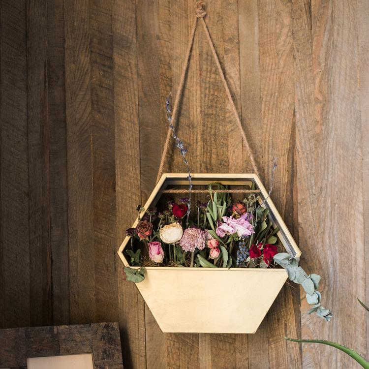 Gold Metal Planter Hexagon Hanging Planter RusticReach