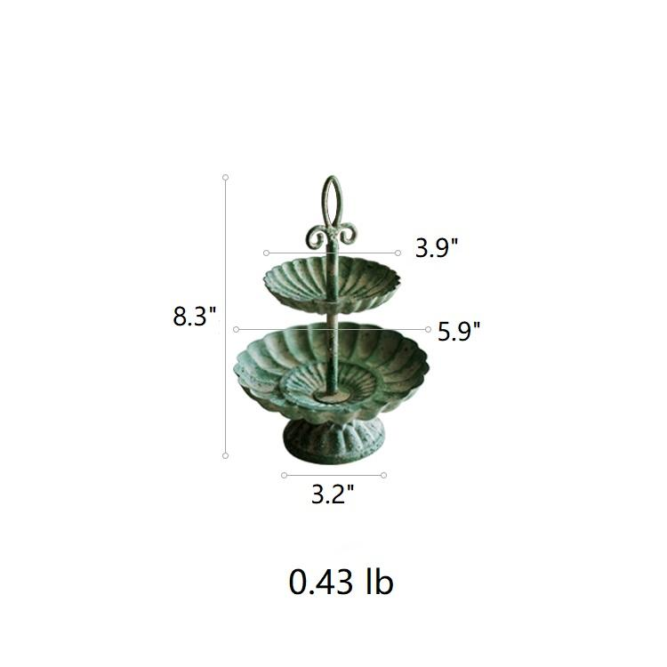 Green Iron Two Tier Small Decorative Tray RusticReach