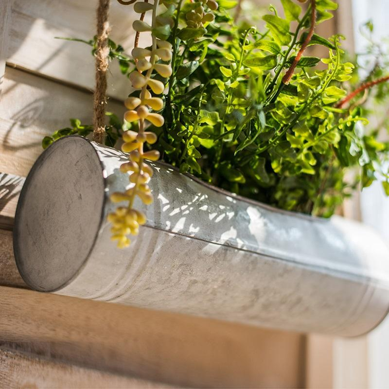 Greenery Plant in Double Hanging Iron Planter RusticReach