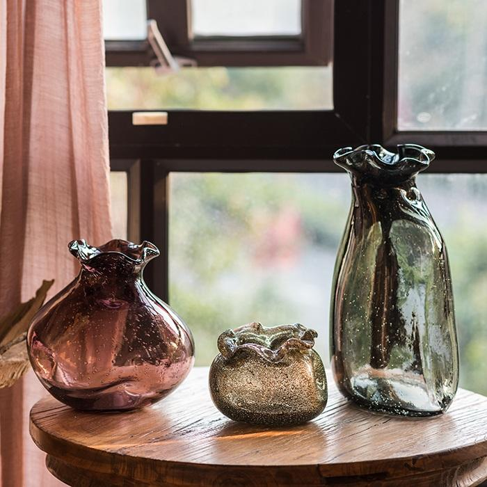 Hand Blown Glass Vase Bubble Pocket RusticReach