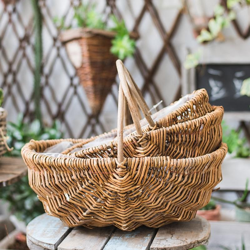 Handmade Basket Natural Willow Carry Handle (Set of 3) RusticReach