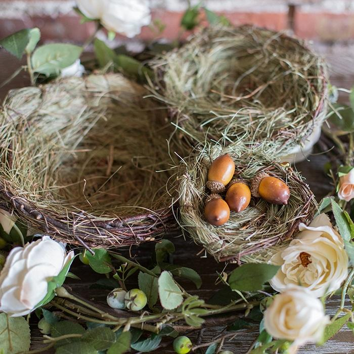 Handmade Grass Willow Bird's Nest Ornament Set of 3 RusticReach