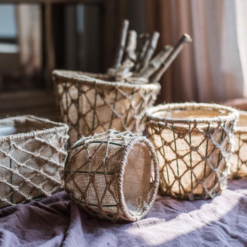 Handmade Hemp Basket Randomly Picked Set of 3 RusticReach