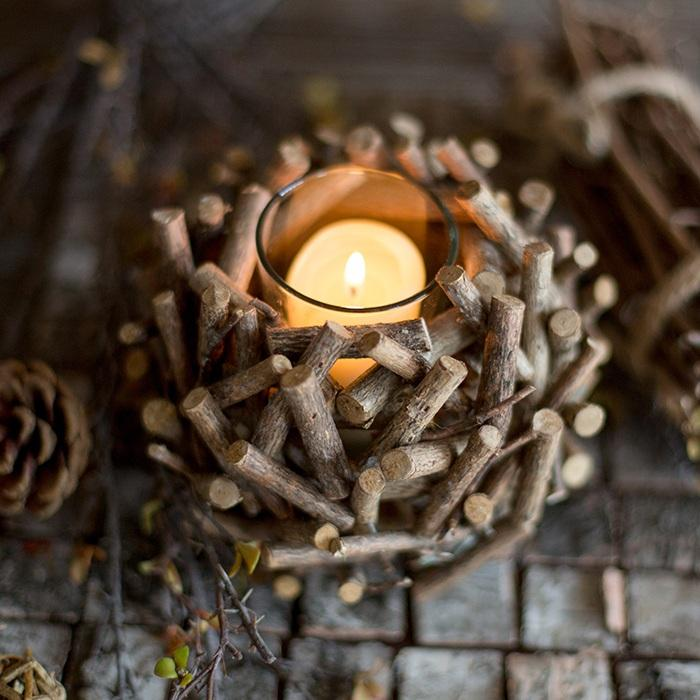 Handmade Wood Candle Holder RusticReach